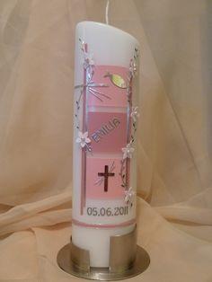 Taufkerze Kommunionkerze Quadrate rosa von Kerzen & Deko Tina Hettwer auf DaWanda.com