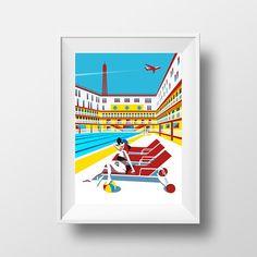 Affiche Illustration Paris  Poster Piscine Molitor et Ia Tour