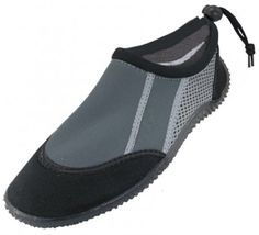 Women's Water shoes Soft Clear Outsole Ankle Aqua Socks w/ Drawstring - Black / Gray >>> You can get additional details at the image link.