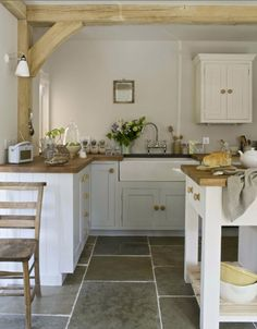Like the large floor tile and butcher block counters