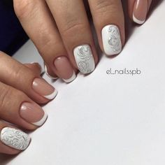 Classic french manicure, Drawings on nails, Evening dress nails, Exquisite nails, Festive nails, Gentle gel polish for manicure, Nails trends 2016, Pale nails 2016