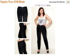 New Years 30% off Black Leather Pants/ 90's Vintage Pants/ Rocker style/Real Leather Trousers/ Size XS/34/27 Gift idea for her/ Free Shippin by SixVintageChicks on Etsy