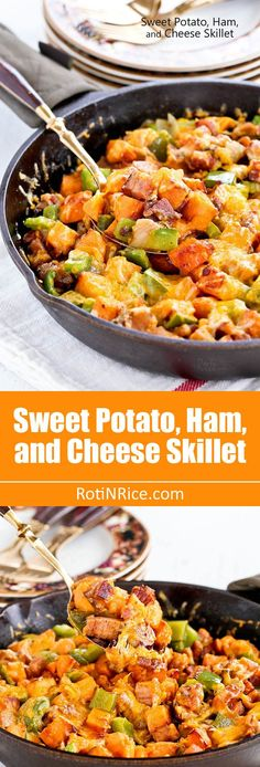 Sweet Potato, Ham, and Cheese Skillet - a hearty and delicious breakfast skillet using leftover ham that is sure to bring the family rushing to the kitchen. Ham Steak Recipes, Leftover Ham Recipes, Cooking Recipes, Healthy Recipes, Recipes Using Ham, Cooking Tips, Cooking Corn, Cooking Steak, Skillet Recipes