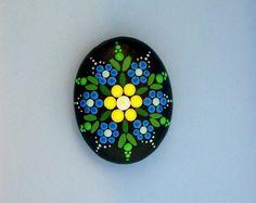 Mandala stones-painted rocks-blue yellow flower-ooak 3D dot art-pointillism-Zen garden-yoga accessories-therapy stone-summertime gift ideas