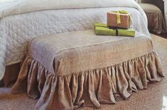 DIY bench slipcover My Sister's Suitcase: Fabric covered bench {designer knock-off}