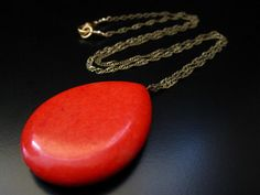 Red Sponge Coral and Brass Layering Necklace  by PumpkinBeads, $26.00