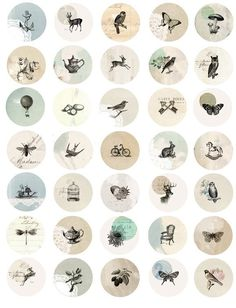 Vintage mix 1 inch button circles digital collage sheet. $5.00, via Etsy.