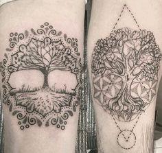Mandala trees tattoo for couples