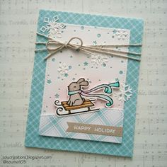 card christmas critters bunny snow drift landscape Lawn Fawn winter bunny sleigh Lawn Fawn perfectly plaid paper winter christmas Sou Creations : Winter bunny (Lawn Fawn)