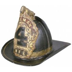 """Rare Leather Dog Finial, Gratacap Leather Fire Helmet ca. Leather front shield reads """"Foreman 4 N. Cloth liner and makers tag mostly intact. Firefighter Paramedic, Fire Helmet, Trumpets, Fire Dept, Headgear, Primitives, Ems, Folk Art, 19th Century"""