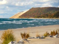 Sleeping Bear Dunes. See that giant sand dune in the background? I ran down it AND climbed all the way back up :)