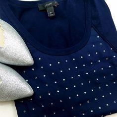 FINAL Navy Crystal Embellished Tank *LOWEST PRICE EVEN IF BUNDLED* Details: • Size XL • Crystal embellished front  • Photos 3 and 4 show same style, different color   • Measurements to come • NWT  11041503 J. Crew Tops Tank Tops