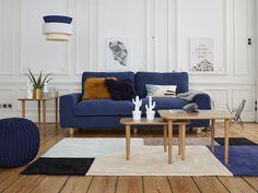 Grand canapé bleu salon style scandinave La Redoute Intérieurs