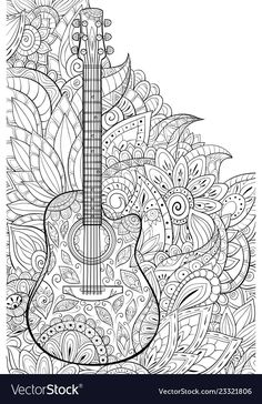 Adult Coloring Bookpage A Cute Guitar On The Vector Image – Coloring Mandalas Fruit Coloring Pages, Mandala Coloring Pages, Coloring Pages To Print, Colouring Pages, Coloring Books, Coloring Sheets, Coloring Pages For Adults, Free Online Coloring, Printable Adult Coloring Pages