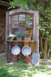 alte fenster Altes Fenster Wunderlichekunst Mehr one Garden Yard Ideas, Garden Projects, Garden Art, Wood Projects, Rustic Gardens, Outdoor Gardens, Patio Steps, Garden Doors, Old Windows