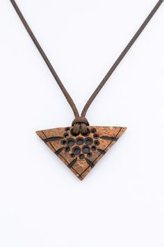 """ON SALE Hand carved coconut gift for her pendant """"Triangle Flower"""" floral women brown pendant art eco natural boho wood carving wood pendant - $20.00 USD"""