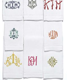 Kim Hastreiter, co-publisher of Paper Magazine-  Her collection of assorted monogrammed guest towels.  So great, Leontine Linens!