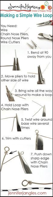 """Making a simple wire loop"" (http://jenniferjangles.blogspot.com/2013/03/jewelry-making-basics.html)"
