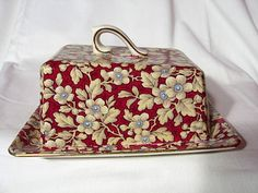 Royal Brocade Chintz Covered Cheese Dish ~ Lord Nelson Ware For sale on Ruby Lane