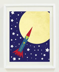 Vintage Inspired Rocket Print for Nursery, Kids Room or Home Decor - 11x14 - Wall Art - Space, Stars, Moon, Sky-Blue, Red, Yellow, Green