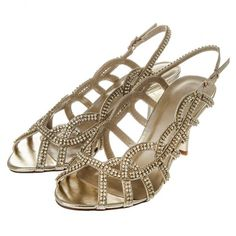 Medium Heel Sling Back Diamante Sandal