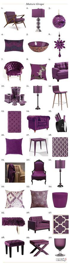 sherwin williams mature grape product roundup, grape purple used in interior design, interior styling ideas