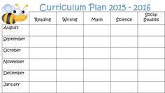 Free template for long term curriculum plans.  Part of my blog that has Freebies every Monday.  Check it out!