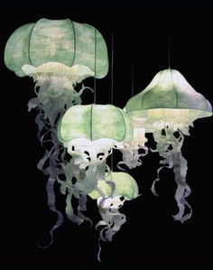 Paris-based Geraldine Gonzales creates floating medusa jellyfish lamps that softly glow to create an otherworldly atmosphere.