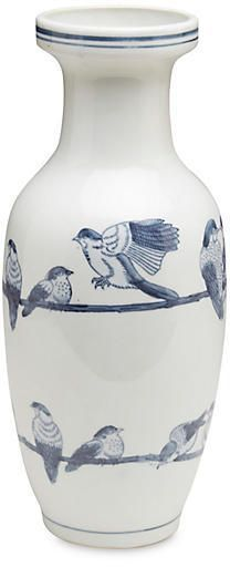 "One Kings Lane 14"" Ceramic Bird Vase - Blue/White"