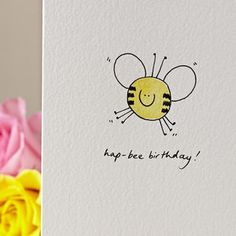 Personalised 'Smiley Bee' Hand Illustrated Card by Hannah Shelbourne Designs, the perfect gift for Explore more unique gifts in our curated marketplace. Watercolor Birthday Cards, Birthday Card Drawing, Birthday Card Design, Drawn Birthday Cards, Happy Birthday Cards Handmade, Handmade Cards, Homemade Birthday Cards, Birthday Cards For Friends, Hand Drawn Cards