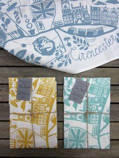 Linen screen printed Cirencester tea towel by stephaniecoleDESIGN,