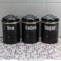 Tea Coffee Sugar Kitchen Canister Set Black