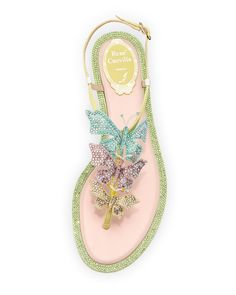 Crystal Butterfly T-Strap Sandal, Multi $1095