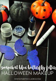 snapchat-blue-butterfly-filter-halloween-makeup-tutorial Halloween Quotes, Blue Butterfly, Halloween Makeup, Snapchat, Filter, Makeup Ideas, Illustration, Facepaint Ideas, Haloween Makeup