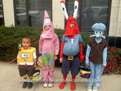 Homemade Spongebob Gang Costumes: Every year my children want to be something great for Halloween, however I have 4 kids so buying 4 costumes is not in my budget. I decided I would start