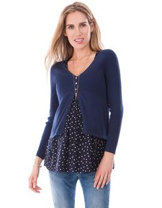 Cotton Navy Blue Maternity Cardigan | Seraphine
