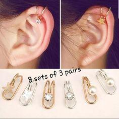 1 Pc Ear Cuff Clip Star Diamond Ear Clip Earrings Non Piercing Ear Clip Fake Cartilage Earring Fake Piercings Cuff Earrings, Cartilage Earrings, Sterling Silver Earrings Studs, Heart Earrings, Clip On Earrings, Fake Piercing, Ear Piercings, Geode Jewelry, Ear Jewelry