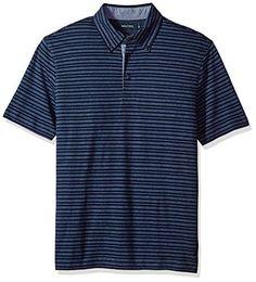 Nautica Mens Short Sleeve Contrast Logo Ofxord 100/% Cotton Polo Shirt