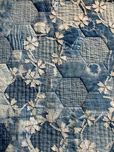 Hexagon pieced shibori and sashiko with delicate embellishment. Crazy Quilting, Hexagon Quilting, Hexagon Quilt Pattern, Paisley Pattern, Applique Quilts, Fabric Art, Paper Piecing, Quilting Projects, Quilting Ideas