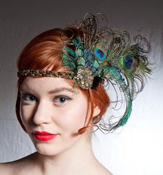 Delightful 1920s-inspired peacock feather head band. #HeadBand #ShaunaGiesbrecht #VonGiesbrechtJewels
