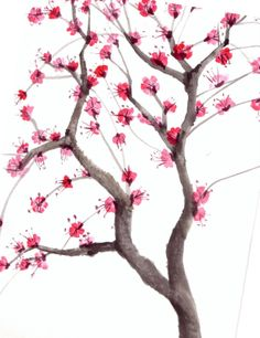 Cherry blossom tree watercolor