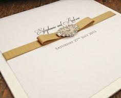 art deco, pearl, ornate, ivory lace pocket wedding invitation www.els-design.com