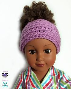 """My Dolly Edgy Messy Bun Hat This precious My Dolly 18 inch dollcrochet pattern series started with My Dolly Surf Song Convertible 3-in-1 – Poncho, Messy Bun hat, Beanie and continues with My Dolly Edgy 2-in-1 messy bun hat and beanie for a lovely 18"""" doll. Because we can't stop crocheting for the"""