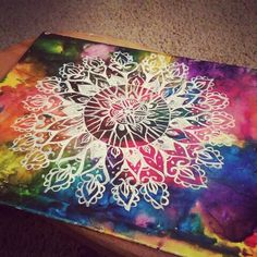 Hand painted mandala Galaxy canvas