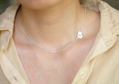 Sideways Initial Necklace Sterling silver Initial by AiryLoft, $24.00