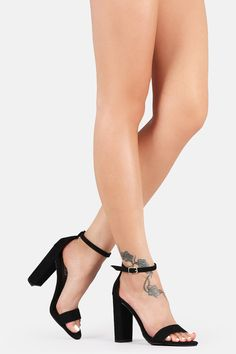 """ITEM #: 00676 This classic open toe heel is on a chunky heel, featuring an adjustable ankle strap. Material: Vegan Suede (man-made) Sole: Rubber Measurement Heel Height: 4.5"""" (approx)"""