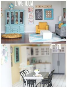 DIY #dollhouse  living room & kitchen by craftiness is not optional... When a dollhouse is nicer than your real house....
