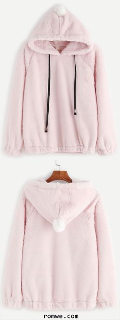 Raglan Sleeve Pom-pom Embellished Drawstring Hooded Fuzzy Sweatshirt