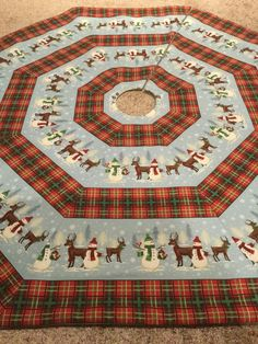 Quilted Handmade Christmas Tree Skirt Large Size 55 Wide