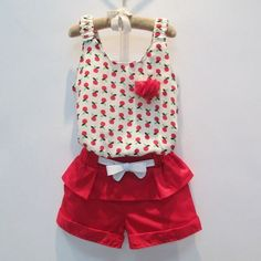 girls clothing sets on sale at reasonable prices, buy 2017 Summer Style Baby Girls Clothing Set Sleeveless Polka Dot Vest+ Pant Kids Chiffon Clothes Set Years from mobile site on Aliexpress Now! Baby Outfits, Little Girl Dresses, Kids Outfits, Girls Dresses, Baby Girl Fashion, Kids Fashion, Cheap Girls Clothes, Short Niña, Jupe Short